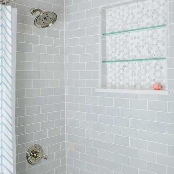 Steel Shower Enclosure with White Subway Tiles - Transitional ...