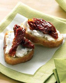 Goat Cheese and Sun-Dried Tomatoes Crostini Recipe | Martha Stewart
