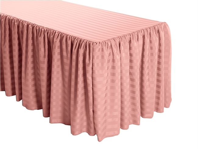 Shirred Stripe Polyester Table Skirt 6 Foot Table 3 Sides