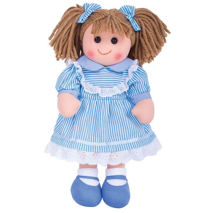 Maak kennis met Amelia! De poppen van BigJigs zijn erg schattig met een fijne zachte stof. Amelia draagt een mooi blauw jurkje. De kleding van Amelia kan aan- en uitgetrokken worden en is met de hand uitwasbaar. Voldoet aan de huidige Europese veiligheidsnormen. Hoogte: 38cmBreedte: 19cmGewicht: 230 gram  - BigJigs Pop Amelia 38cm