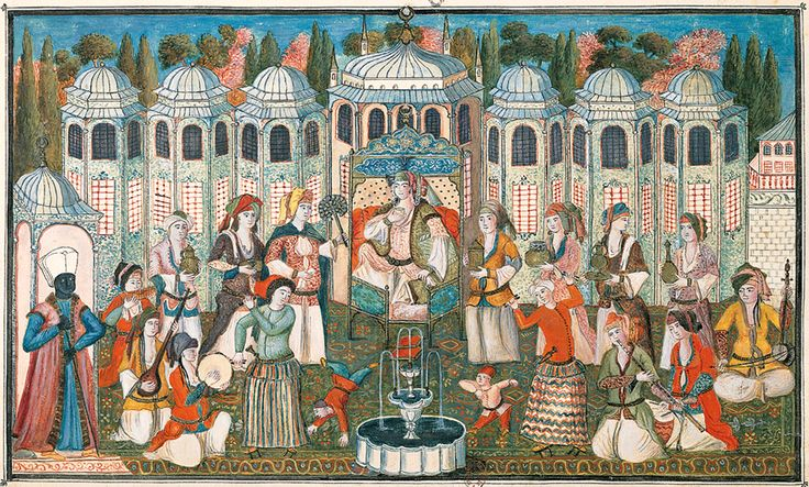 Depicting a late 17th-century Ottoman garden party hosted by the Queen Mother (Valide Sultan) for Madame Girardin, wife of the French ambassador, paintings such as this provide valuable insight into Ottoman garden design.