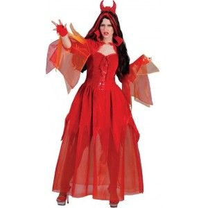 Déguisement diablesse Ava adulte femme, costume diable rouge, costume Halloween.