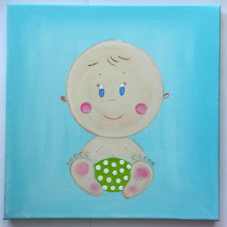 Handmade children's canvas painting with a baby in shades of blue, beige, green and pink.