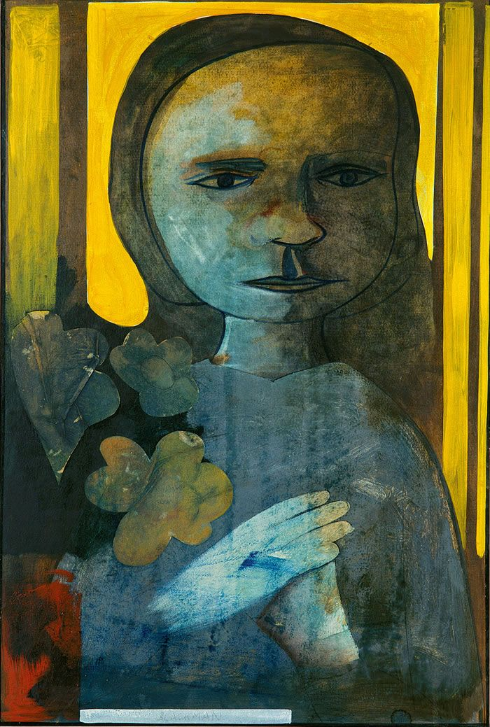 Charles Blackman ~ Girl with Flowers, c.1973