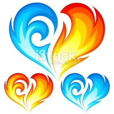 Fire and Ice vector heart. Symbol of love Royalty Free Stock Vector Art Illustration