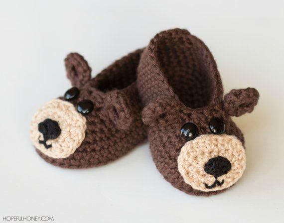 CROCHET PATTERN  Teddy Bear Baby Booties by HopefulHoneyDesigns