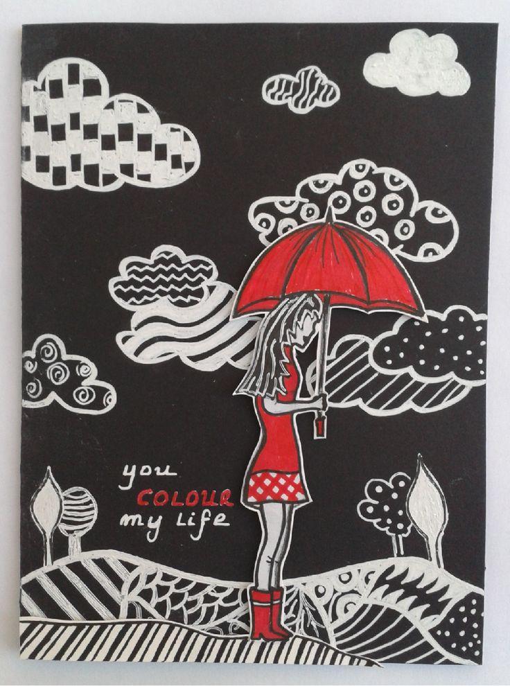 Hand drawn card with Uniball pens.  #cards #handmade Craftycroppersgr.blogspot.com,  http://thethreemuseschallenge.blogspot.gr