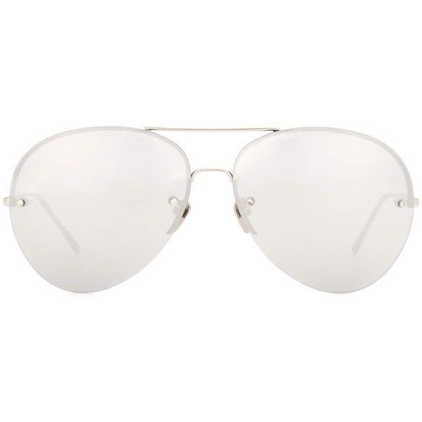 Linda Farrow White Gold-Plated Mirrored Aviator Sunglasses (27.309.375 VND) ❤ liked on Polyvore featuring accessories, eyewear, sunglasses, white, gold plated glasses, aviator sunglasses, white glasses, linda farrow sunglasses and aviator style sunglasses