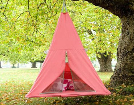 Treepee is a tent, trampoline, and swing all in one!  (A fun addition to the backyard or patio.)