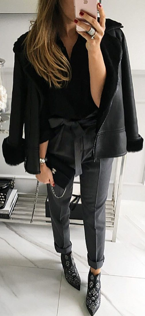 black on black_jacket + blouse + pants + bag + boots