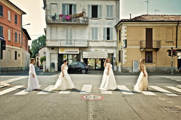 Brides Road - tribute to Beatles!  Photo by Sixth Bridge Studio  Make up by organicbrides.net