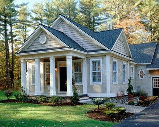 Small House Exterior With Columns.