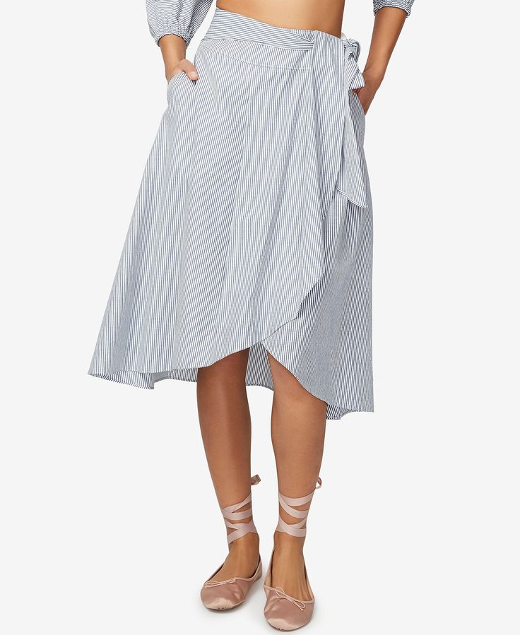 RACHEL Rachel Roy Cotton Pinstripe Wrap Skirt, Only at Macy's - RACHEL Rachel Roy - Women - Macy's