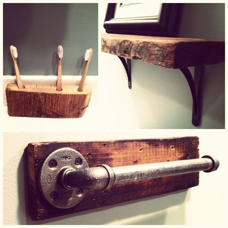 Rustic bathroom. Great idea for a tooth brush holder! easy to make too.