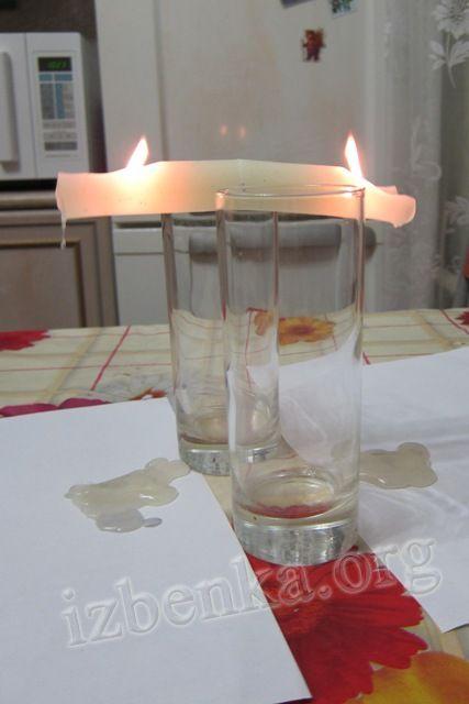 Эксперименты со свечой, водой