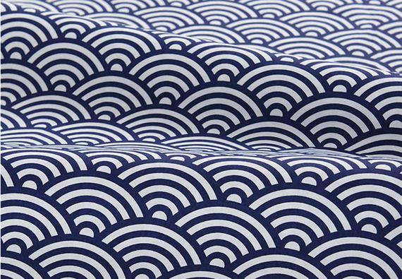 Magnifique grand tissu japonais traditionnel motif vague Seigaiha bleu nuit 160x50cm