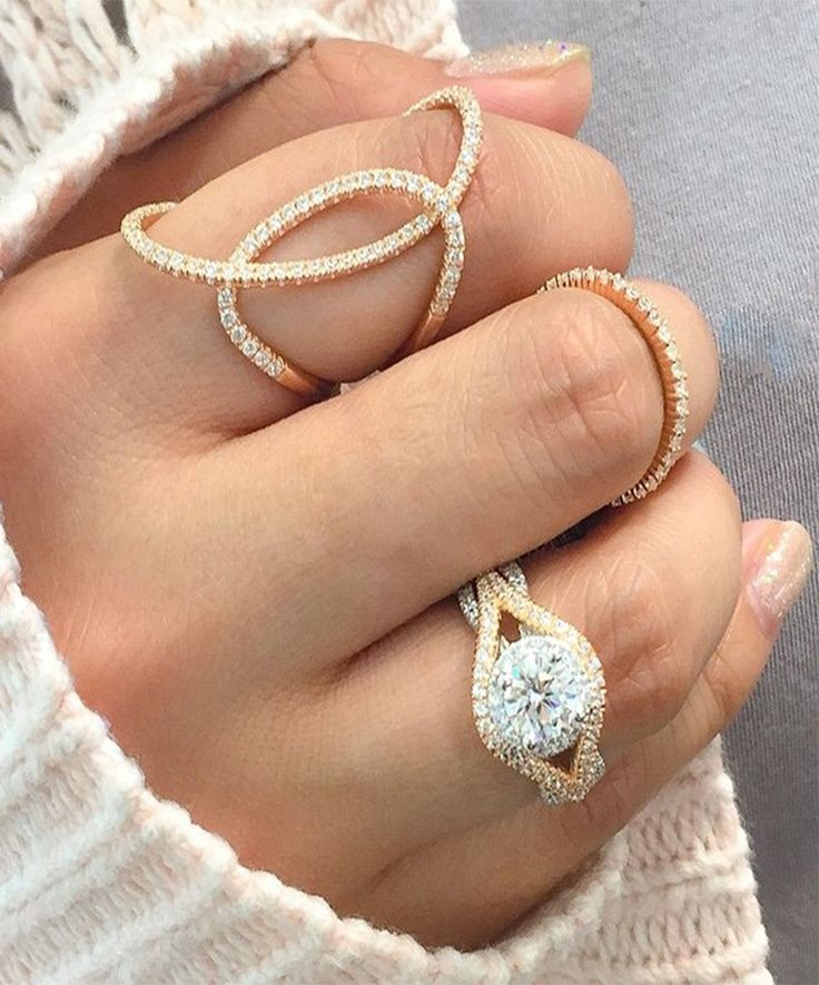 Pair your Gabriel & Co. Engagement Ring with these gorgeous 14k White Gold Gabriel Fashion Rings.