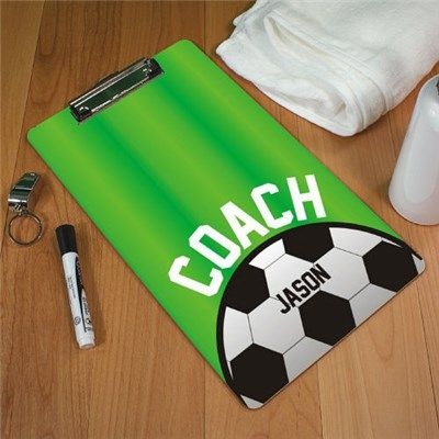 Personalized Soccer Coach Clipboards. For his personalized back to school gift, take his passion for soccer and carry it over into a passion for school when you give him this per...