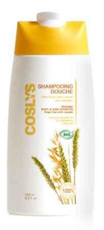 Energetyzujący szampon i żel pod prysznic 2 w 1 ze zbożami Coslys. Z olejkami eterycznymi z  z bergamotki, ylang-ylang i bazylii.