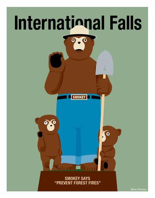 International Falls Minnesota Smokey the Bear Statue - MN Roadside Attraction Travel Poster