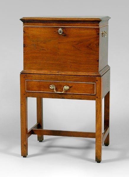 "Micajah Wilkes (1765-1841) (Attributed) - Cellaret. Walnut with Yellow Pine Secondary Wood and Brass Hardware. Roanoke River Basin, North Carolina. Circa 1780-1795. 36"" x 20-1/2"" x 15-1/4""."