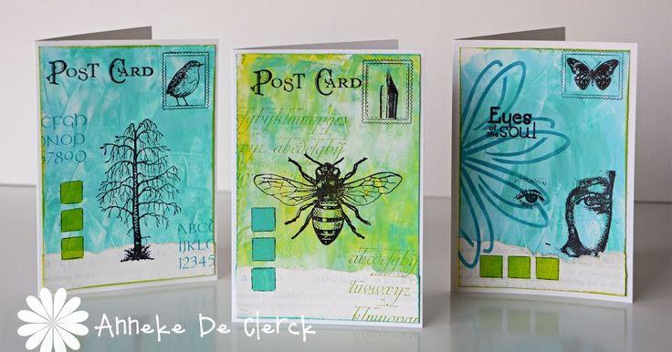 Deze 3 kaartjes heb ik gemaakt met enkele van de nieuwe Art Journey  stempels.     I made these 3 cards with some of the new Art Journey ...