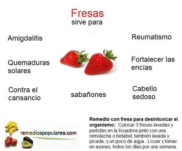 Con las fresas se pueden elaborar diferentes remedios caseros y naturales. Conoce más en: http://www.remediospopulares.com/fresa.html