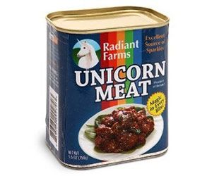 Canned Unicorn Meat - Hate spam? Well do we have a great alternative for you. Great for parties and children, you can now tell everyone what you will be cooking for dinner. It is best to have one of them help you prepare the meat.