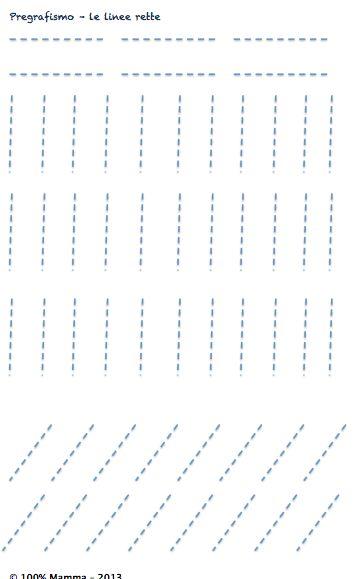 Schede di pregrafismo - le linee rette - Cento per cento mamma