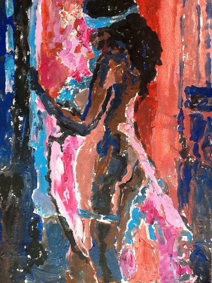 Misterios ,abstract ;acryl pe carton .
