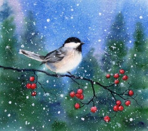 CHICKADEE 11 watercolor bird animal landscape painting, painting by artist Barbara Fox