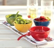 Talavera Melamine Condiment Set from Pottery Barn....We can already see Backyard Farms' chopped up tomatoes in one of these bowls :-)