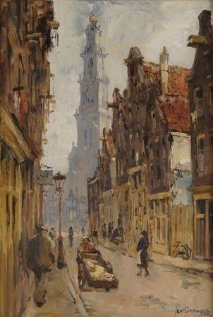 Bloemstraat met de Westertoren in Amsterdam door Jan Korthals (1916 - 1972)