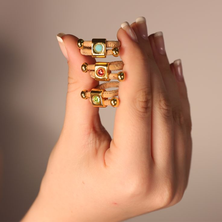 Night rocks rings with cork and colorfull stones !!
