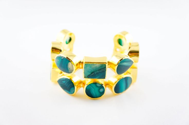 "Green Claudia Cuff - Green Claudia Cuff ""Alloy Metal (Nickel Free) with 18th Kt micro gold plated cuff with green agate gem stones inlays."