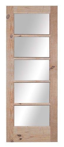 PORTE FRANCAISE 5 VITRES : Porte française BMR en pin noueux, 5 vitres en verre clair.