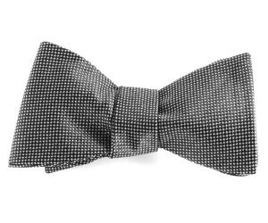 Self tie bow tie - Silver grey flowers on a black base Notch FFRvpx
