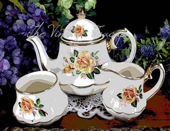 Card Making Teaset Digital Image for Instant by TuiTrading on Etsy