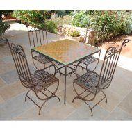 Table marocaine en zellige vert-orange à damier
