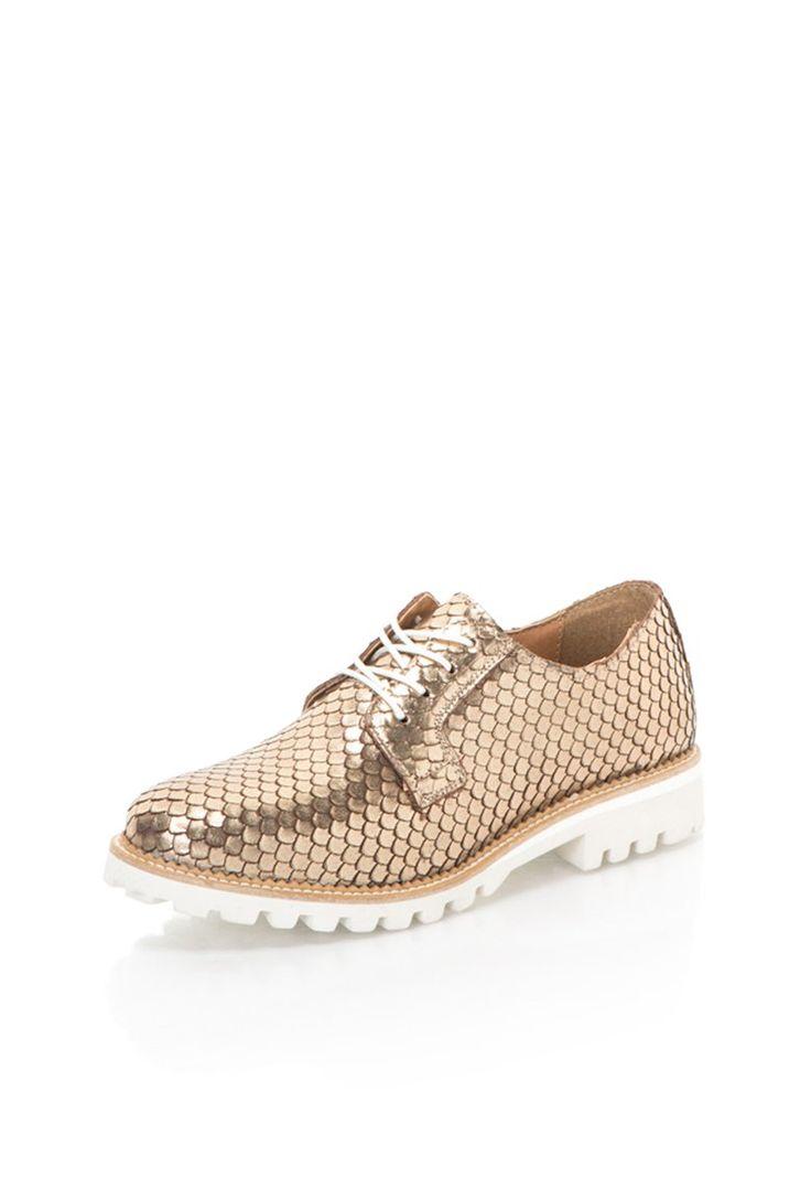 Pantofi aurii de piele fara toc cu model solzi