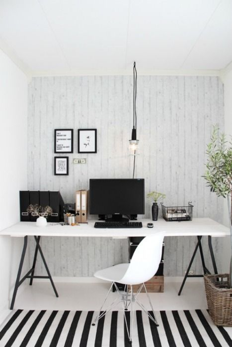 white-washed paneling / bw / work space / office / den