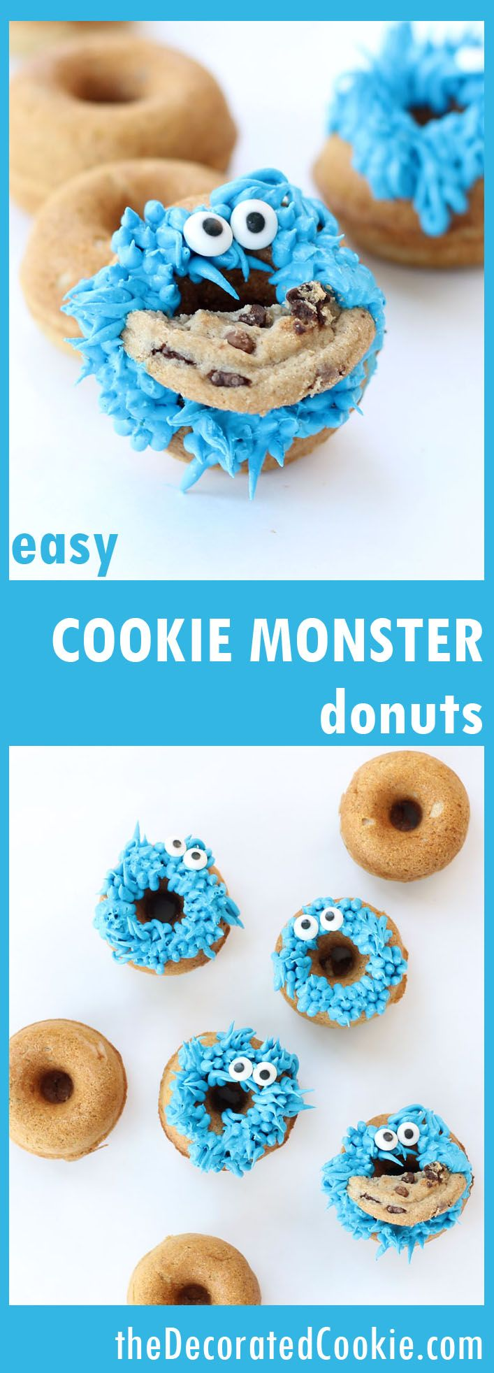 EASY recipe for Cookie Monster donuts (doughnuts?)