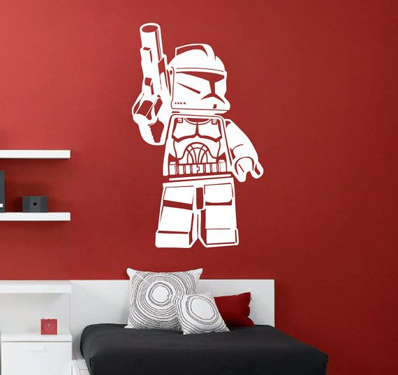This is a large size Lego Star Wars clone trooper wall decal measuring approximately 60cm high x 35cm wide, this wall art consists of one Clone trooper.