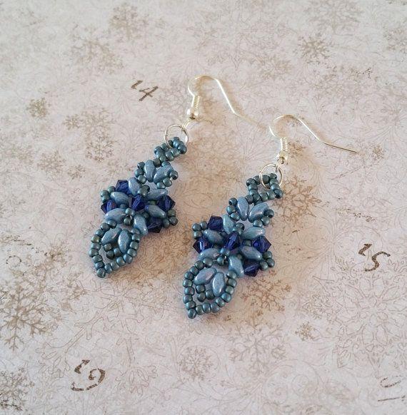 Blue cross earrings, Dark blue 'Cross and Sword' Earrings, Beadwork earrings, Superduo earrings, Beadwoven dangle drop sword earrings