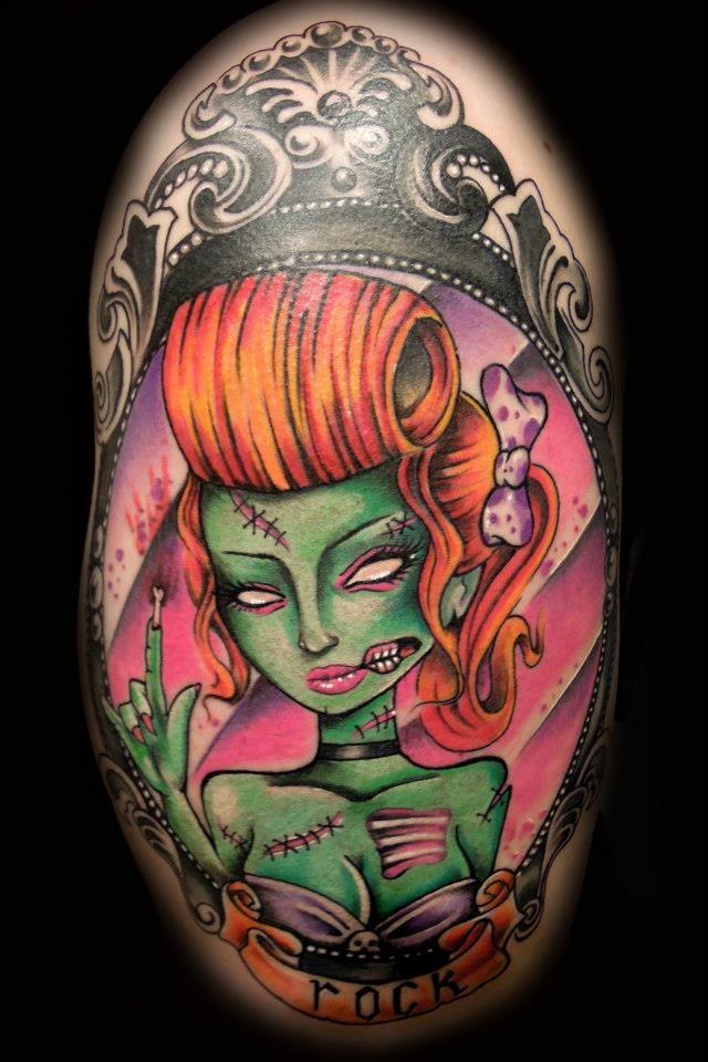 Rock zombie girl by Josu . Awesome #tattoo ! Catalonian Tattoo Scene. *****