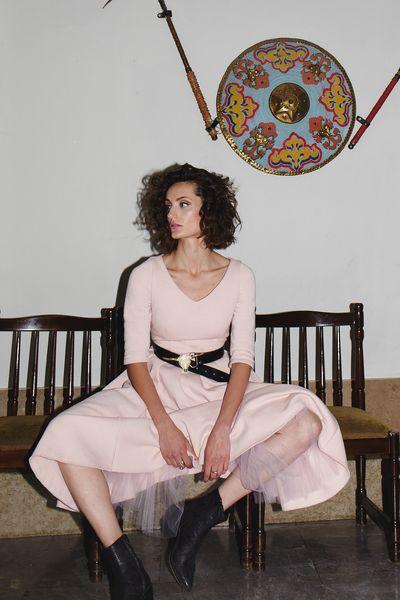 TIULEWNA z rękawami powder pink #riskmadeinwarsaw #partydress #partylook #outfit #look #style #fashion