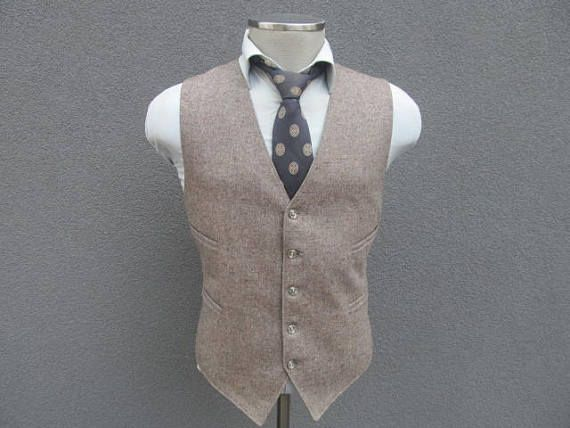 1950s Vintage Tweed Vest / Wool Tweed Waistcoat Size 42 Large