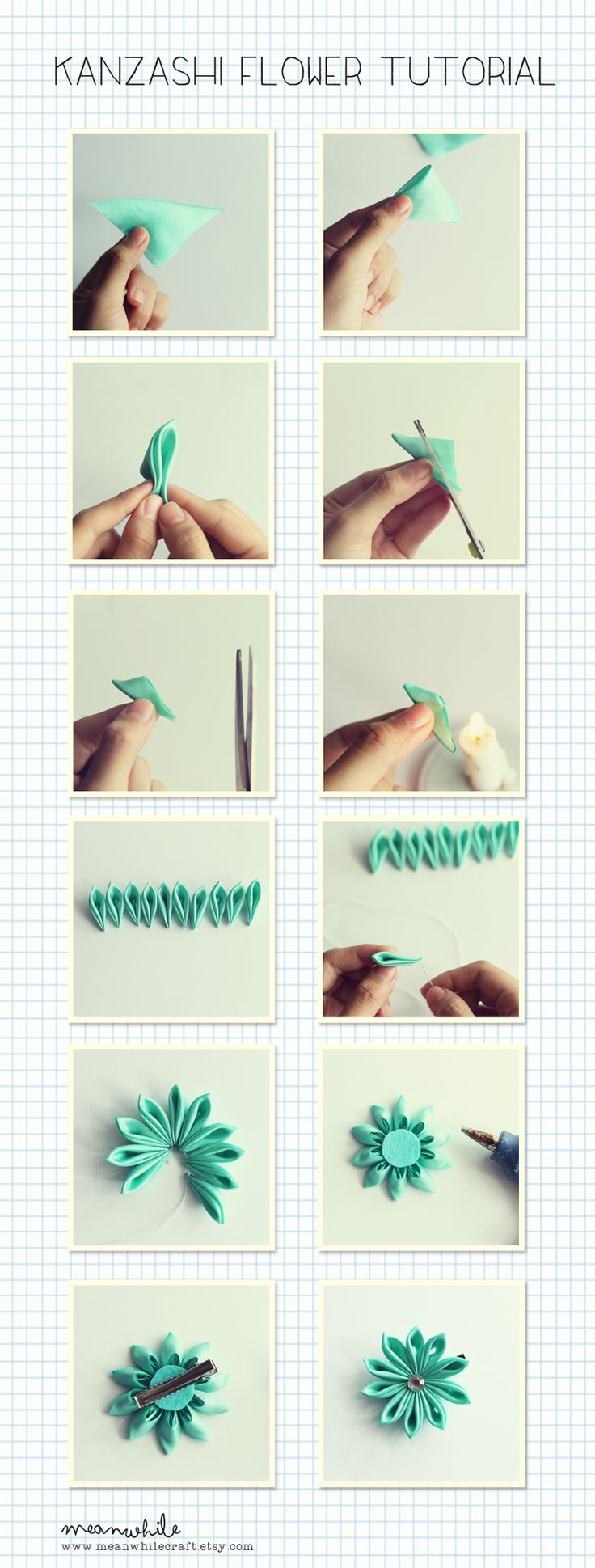 Kanzashi flower tutorial by MeanwhileCraft                                                                                                                                                     More