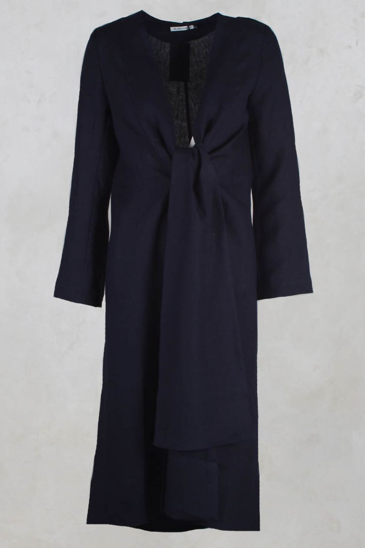 Long Jacket with Tie in Linen Navy - Les Filles D'ailleurs