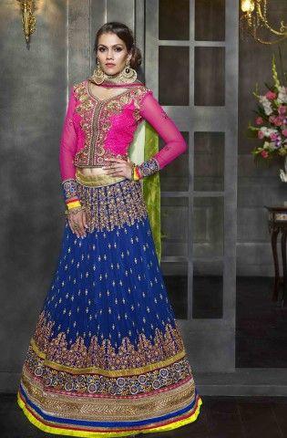 f4cddf10f2 Shop for blue embroidered 3-piece lehenga choli @ Rs 9620 !! #IndianFashion  #Wedding #OnlineShopping #Lehenga   Wedding Collection Vessido   Lehenga,  ...